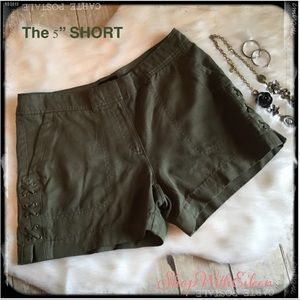 "WHBM The 5"" SHORT Military Army Green X Shorts"